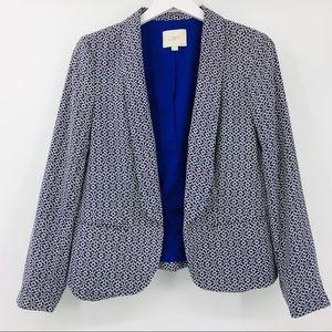 Ann Taylor LOFT Printed Open Front Blazer Jacket
